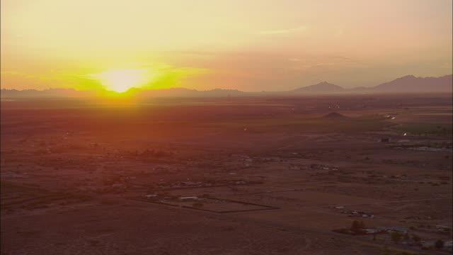 AERIAL Desert landscape east of Tucson at sunset, Arizona, USA