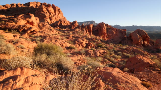 Desert landscape of Valley of Fire State Park in Nevada, jib shot