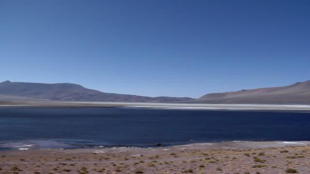 WS PAN Desert landscape with lagoon and mountains, San Pedro de Atacama, El Loa, Chile