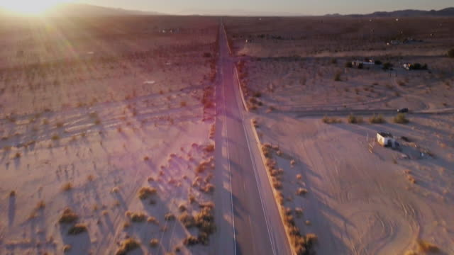 Desert Road at Dusk - Drone Shot