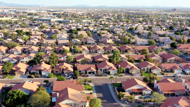 desert southwest real estate from above phoenix area - residential district stock videos & royalty-free footage