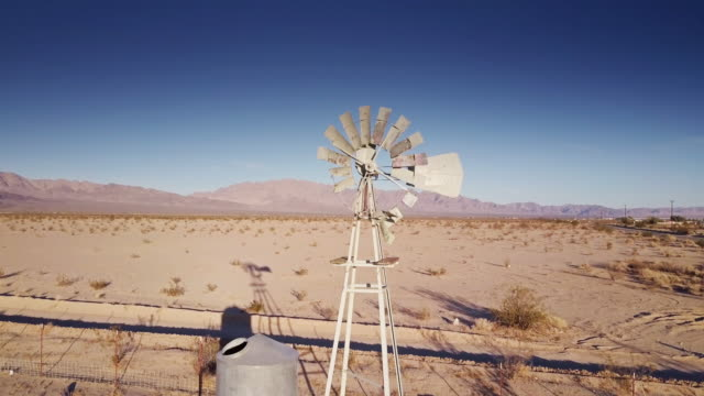 Desert Windmill and Water Tank - Drone Shot