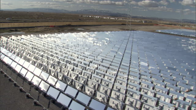 WS PAN Desert with vast solar farm / Sierra Sun Tower Solar Power Plant, California, USA
