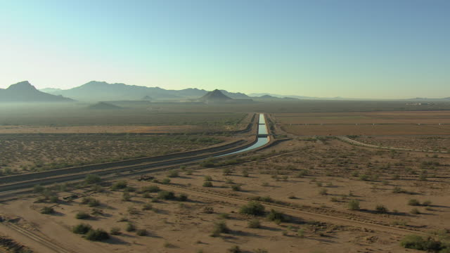 WS AERIAL Desert with water way in Pima County / Arizona, United States