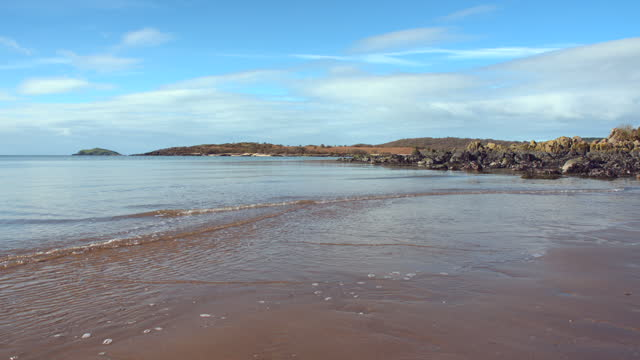 deserted beach on a bright spring morning - general view stock videos & royalty-free footage