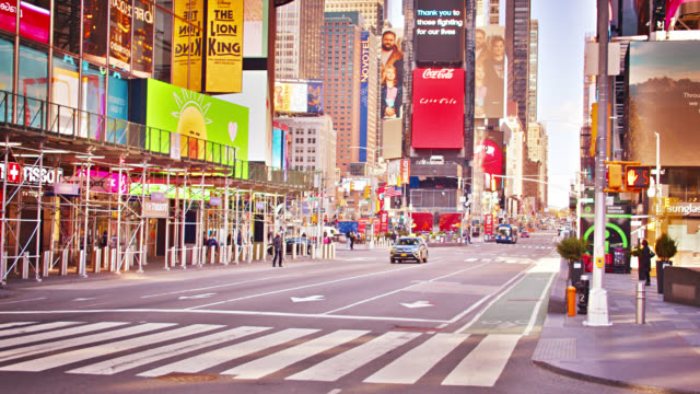 deserted empty times square new york during lockdown during covid-19 waiting to restart american economic. billboards. tourists. travel destination - times square manhattan stock videos & royalty-free footage