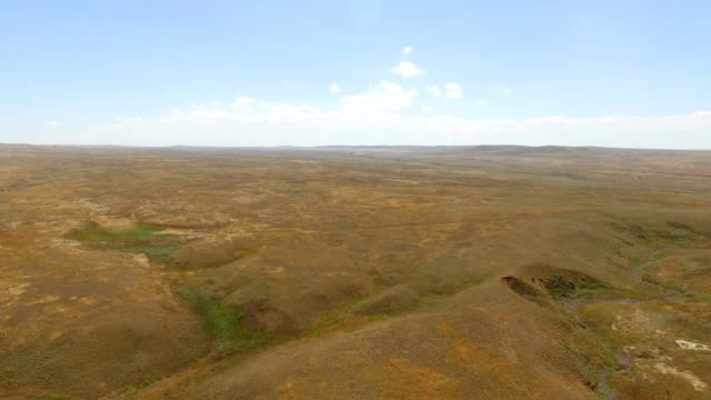 Deserted hilly terrain, aerial video