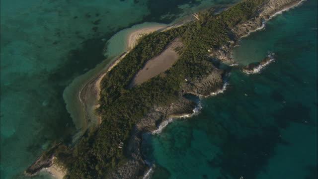 vídeos y material grabado en eventos de stock de aerial deserted island with rocky shore, rose island, bahamas - bahamas