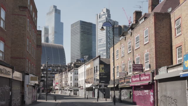 a deserted petticoat lane market, london in the spring of 2020 - international landmark stock videos & royalty-free footage