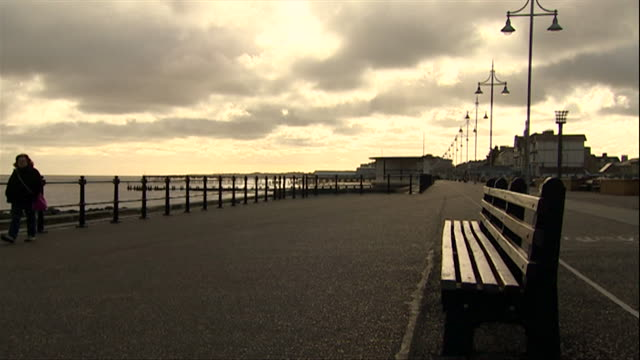 deserted promenade in winter at lowestoft seafront - promenade stock videos & royalty-free footage