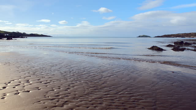 deserted scottish beach on a bright morning - general view stock videos & royalty-free footage