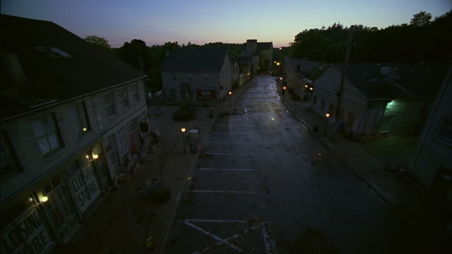 ws, ha, deserted street in old town at dusk, elora, ontario, canada, - remote location stock videos & royalty-free footage