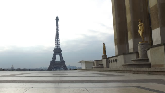 deserted trocadero esplanade in front of the eiffel tower in paris. president macron announced on monday march 16 that the fight against coronavirus... - eiffel tower paris stock videos & royalty-free footage