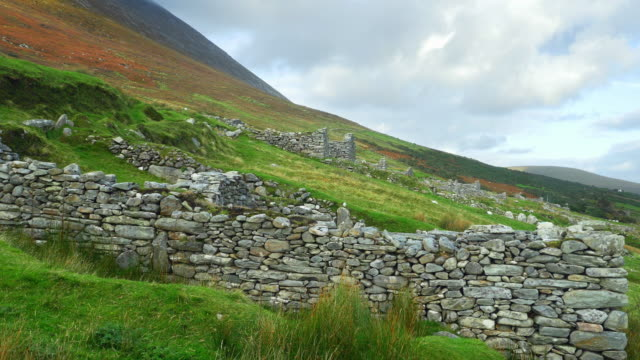 deserted village of slievemore on achill island - stone wall stock videos and b-roll footage