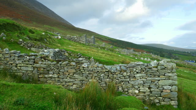 deserted village of slievemore on achill island - rural scene stock videos & royalty-free footage