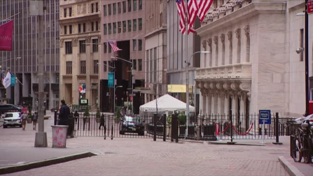 deserted wall street in new york city during lockdown due to coronavirus pandemic - b roll stock videos & royalty-free footage