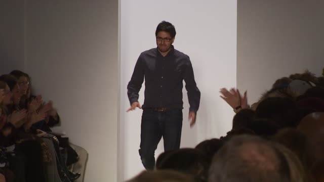 designer brian reyes walks the runway after brian reyes fall 2010 show during mercedes-benz fashion week fall 2010 at the brian reyes - fall 2010... - mercedes benz fashion week stock videos & royalty-free footage