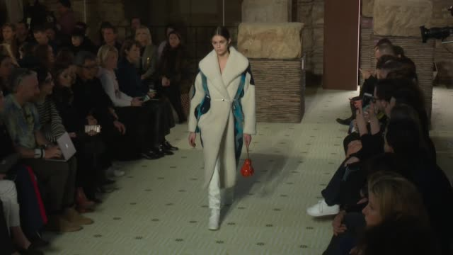 designer bruno sialelli, gigi hadid, kaia gerber, grace elizabeth and fellow models on the runway for the lanvin ready to wear fall winter 2019... - paris fashion week stock videos & royalty-free footage