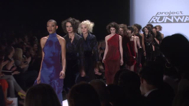 designer chris march walks the runway wearing chris march for 'project runway' season 4 at the tent at the mercedesbenz fashion week fall 2008... - season 4 stock videos and b-roll footage
