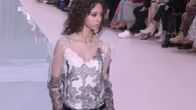 designer clare waight keller and models on the runway for the chloe ready to wear fall winter 2017 fashion show in paris on march 02 2017 in paris... - chloe designer label stock videos and b-roll footage