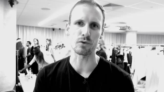 vídeos de stock, filmes e b-roll de designer dion lee discusses his collection backstage ahead of the dion lee show at mercedesbenz fashion week resort 17 collections on may 16 2016 in... - andrew mathers