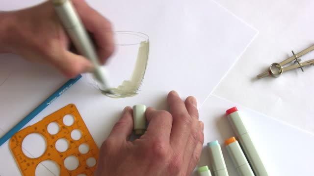 """vídeos de stock e filmes b-roll de designer de desenho com marcador """"hd"""" - rabisco padrão"""