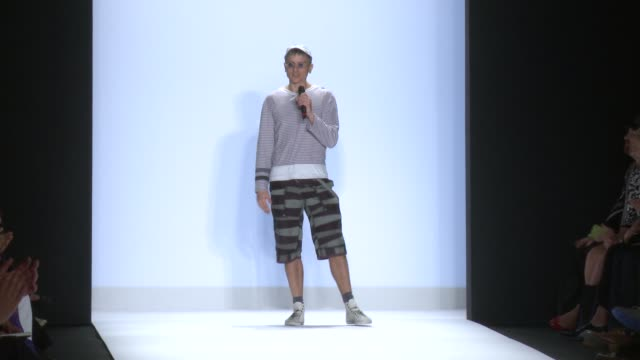 SPEECH Designer Fade zu grau introduces his collection and thanks his supporters during Project Runway Runway Spring 2015 MercedesBenz Fashion Week...