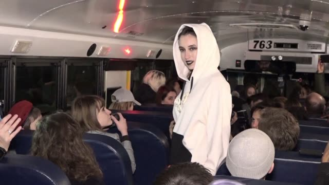 A designer has come up with a novel venue for her first ever show at New York Fashion Week renting a school bus to use as a catwalk and parking it...