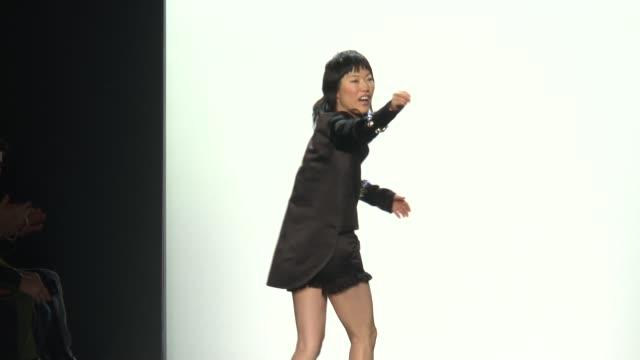 stockvideo's en b-roll-footage met designer jene park walks the runway during thomas wylde nyfw womens f/w 2016 at the dock skylight at moynihan station on february 15 2016 in new york... - thomas wylde