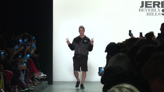 designer jeremy scott walks the runway at jeremy scott september 2016 new york fashion week at the arc skylight at moynihan station on september 12... - moynihan station stock videos & royalty-free footage