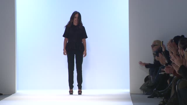 designer jill stuart walks the runway after jill stuart fall 2012 collection during mercedes-benz fashion week fall 2012 on in new york, ny. - mercedes benz fashion week stock videos & royalty-free footage