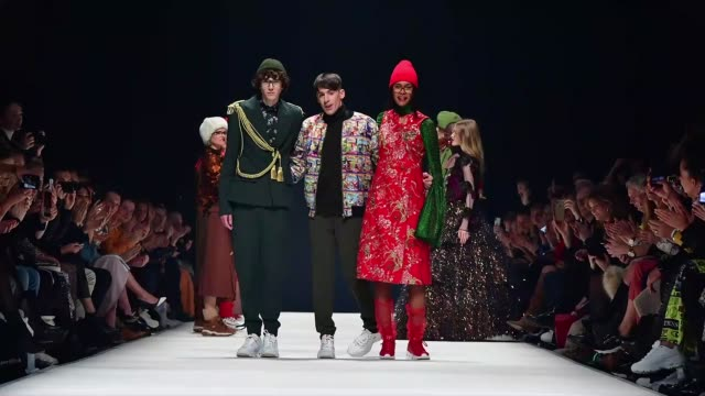 berlin germany january 15 designer kilian kerner and models acknowledge the applause of the audience after the kxxk show during berlin fashion week... - gif stock videos and b-roll footage