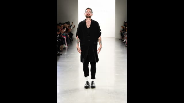Designer Marcel Ostertag walks the runway for Marcel Ostertag during New York Fashion Week The Shows at Gallery II at Spring Studios on February 14...