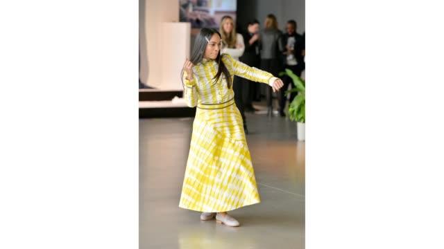 vídeos de stock, filmes e b-roll de designer rosario dawson prepares for the studio 189 presentation in gallery ii of spring studios during new york fashion week the shows at spring... - dawson city