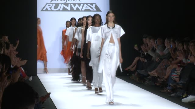 Designer Sean Kelly and models walk the runway during Project Runway Runway Spring 2015 MercedesBenz Fashion Week at The Theatre at Lincoln Center on...