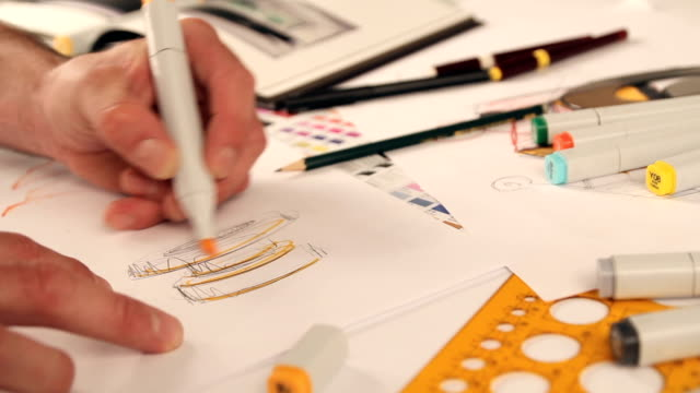 designer sketching and drawing - felt tip pen stock videos & royalty-free footage