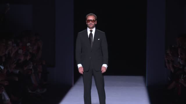 Designer Tom Ford walks the runway at Tom Ford New York Fashion Week at Park Avenue Armory on February 08 2018 in New York City