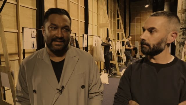 designer tome discusses their collection backstage after the tome show at mercedesbenz fashion week resort 17 collections at carriageworks on may 18... - back stage fashion week australia 2016 stock videos & royalty-free footage