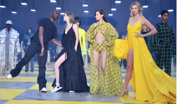 Designer Virgil Abloh Gigi Hadid Bella Hadid and Karlie Kloss are seen during the finale of the OffWhite show as part of the Paris Fashion Week...