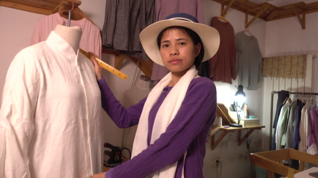 Designer working in her studio