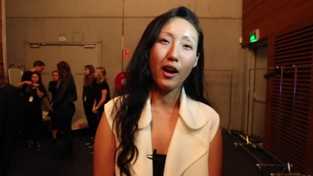 designer yeojin bae discusses her collection backstage ahead of the yeojin bae show at mercedesbenz fashion week resort 17 collections at... - back stage fashion week australia 2016 stock videos & royalty-free footage