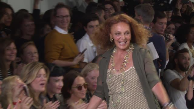 designers diane von furstenberg walks the runway at diane von furstenberg - new york fashion week s/s 2016 at spring studios on september 13, 2015 in... - new york fashion week stock videos & royalty-free footage