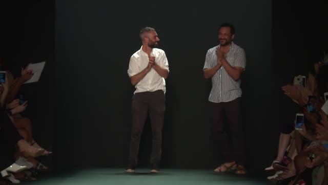Designers Ramon Martin and Ryan Lobo walk the runway at Tome September 2016 New York Fashion Week at The Dock Skylight at Moynihan Station on...
