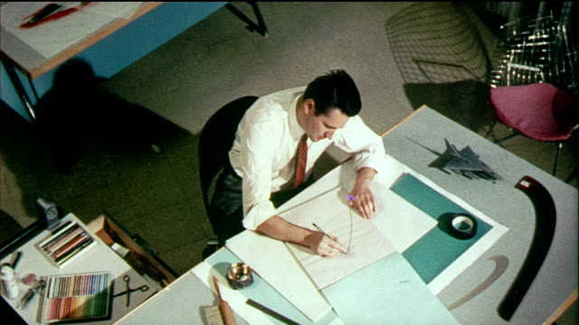 1958 ms ha zi cu designers sitting at drafting tables drawing modern concept cars for general motors / usa / audio - 1950 stock-videos und b-roll-filmmaterial