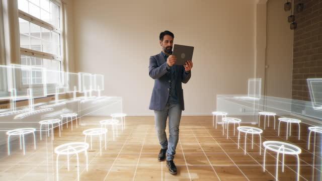 vidéos et rushes de conception d'un nouveau bureau avec réalité augmentée - bureau ameublement