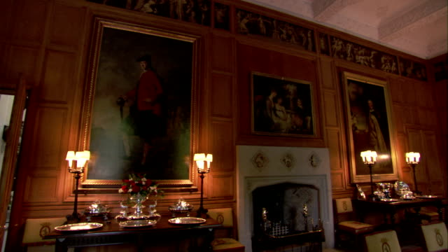 desk lamps illuminate a room in dunrobin castle. available in hd. - electric lamp stock videos & royalty-free footage