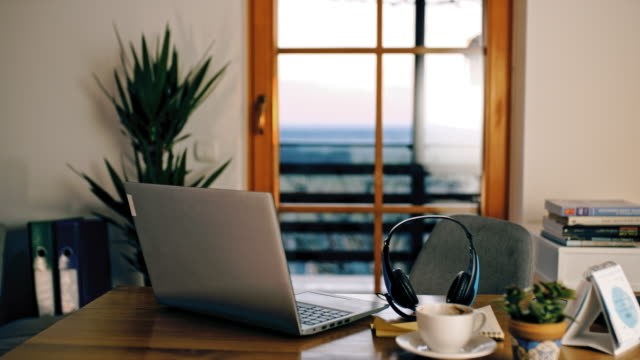 ds desk ready for working from home - headset stock videos & royalty-free footage