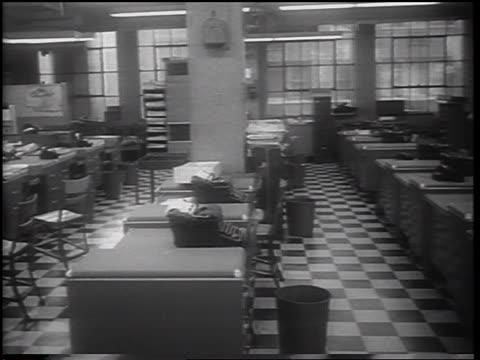 desks + typewriters in empty newspaper office during strike / nyc / newsreel - journalist stock videos & royalty-free footage