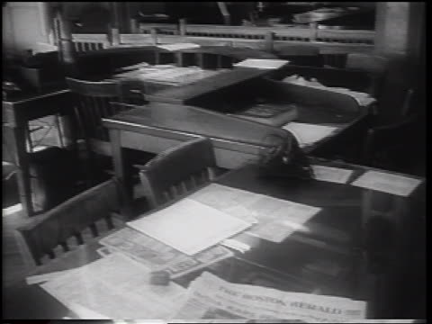 desks with papers on them in empty newspaper office during strike / nyc / newsreel - newspaper strike stock videos & royalty-free footage