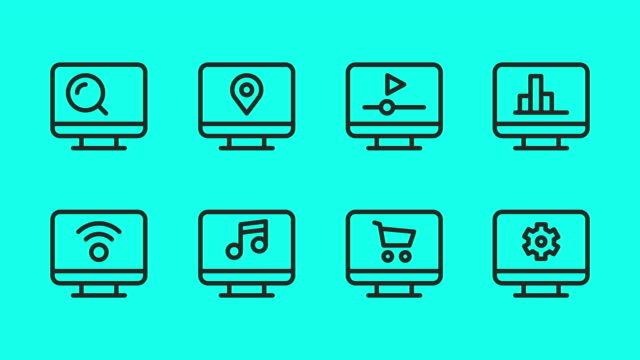 desktop line icons - vector animate - multimedia stock videos & royalty-free footage